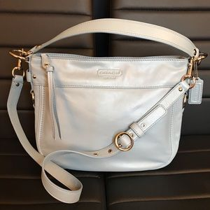 Beautiful Coach Pearl Blue Leather Shoulder Bag